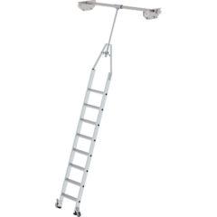 Стеллажная поворотная лестница из алюминия на траках