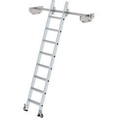 Стеллажная лестница из алюминия на траках